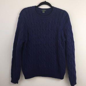 J.CREW 100% Cotton Blue Cable Knit Sweater